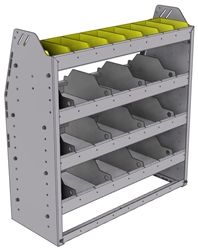 "25-3336-4 Profiled back bin separator combo Shelf unit 34.5""Wide x 13.5""Deep x 36""High with 4 shelves"