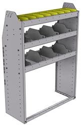 "25-3348-3 Profiled back bin separator combo Shelf unit 34.5""Wide x 13.5""Deep x 48""High with 3 shelves"