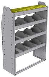 "25-3348-4 Profiled back bin separator combo Shelf unit 34.5""Wide x 13.5""Deep x 48""High with 4 shelves"