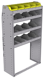 "25-3358-4 Profiled back bin separator combo Shelf unit 34.5""Wide x 13.5""Deep x 58""High with 4 shelves"
