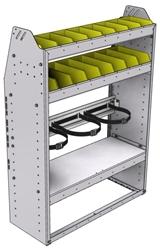 "37-3348-3 Profiled back refrigerant bin unit 34.5""Wide x 13.5""Deep x 48""High with 2 shelves"