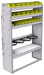 "37-4363-4 Profiled back refrigerant bin unit 43""Wide x 13.5""Deep x 63""High with 3 shelves"