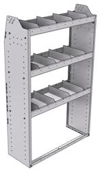 "21-3358-3 Profiled back shelf unit 36""Wide x 13.5""Deep x 58""High with 3 shelves"