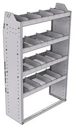 "21-3358-4 Profiled back shelf unit 36""Wide x 13.5""Deep x 58""High with 4 shelves"