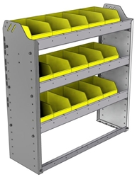 "22-3136-3 Square back bin shelf unit 34.5""Wide x 11.5""Deep x 36""High with 3 shelves"