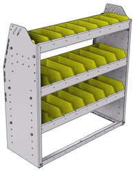 "23-3336-3 Profiled back bin shelf unit 34.5""Wide x 13.5""Deep x 36""High with 3 shelves"