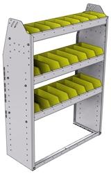 "23-3348-3 Profiled back bin shelf unit 34.5""Wide x 13.5""Deep x 48""High with 3 shelves"