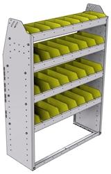 "23-3348-4 Profiled back bin shelf unit 34.5""Wide x 13.5""Deep x 48""High with 4 shelves"