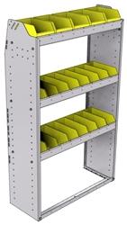 "23-3358-3 Profiled back bin shelf unit 34.5""Wide x 13.5""Deep x 58""High with 3 shelves"