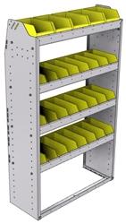 "23-3358-4 Profiled back bin shelf unit 34.5""Wide x 13.5""Deep x 58""High with 4 shelves"