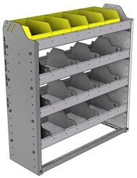 "24-3136-4 Square back bin separator combo shelf unit 34.5""Wide x 11.5""Deep x 36""High with 4 shelves"