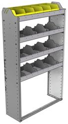 "24-3158-4 Square back bin separator combo shelf unit 34.5""Wide x 11.5""Deep x 58""High with 4 shelves"
