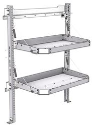 "26-3048-20 2 level fold-up shelving unit, 35""Wide x 18""Deep x 48""High"