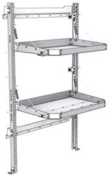 "26-3063-02 2 level fold-up shelving unit, 35""Wide x 21""Deep x 63""High"