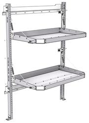 "26-4058-02 2 level fold-up shelving unit, 41""Wide x 21""Deep x 58""High"