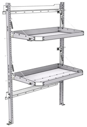 "26-4063-02 2 level fold-up shelving unit, 41""Wide x 21""Deep x 63""High"