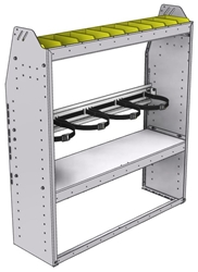 "37-4348-2 Profiled back refrigerant bin unit 43""Wide x 13.5""Deep x 48""High with 1 shelf"