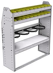 "37-4348-3 Profiled back refrigerant bin unit 43""Wide x 13.5""Deep x 48""High with 2 shelves"